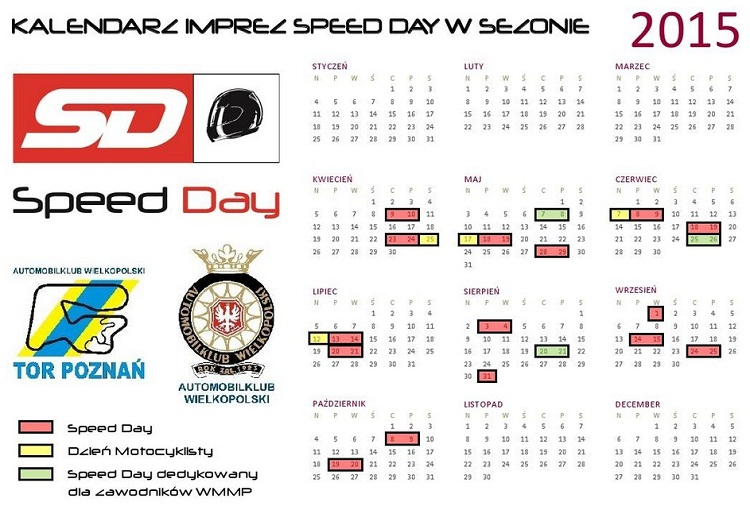 Kalendarz Speed Day 2015 na torze Poznań